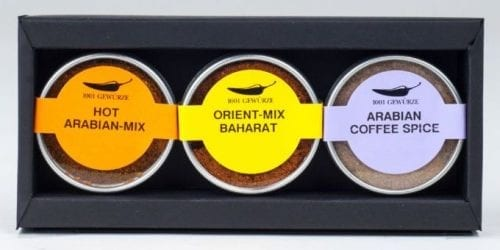 Geschenk-Set 1001 Gewürze 3 Gang Menu Orientalisch Hot Arabian Mix, Baharat, Coffee Spice
